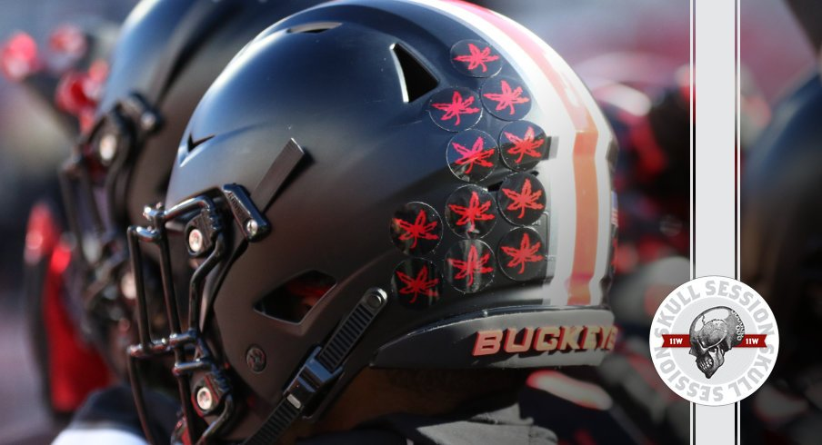The buckeyes have some black helmets in today's skull session.