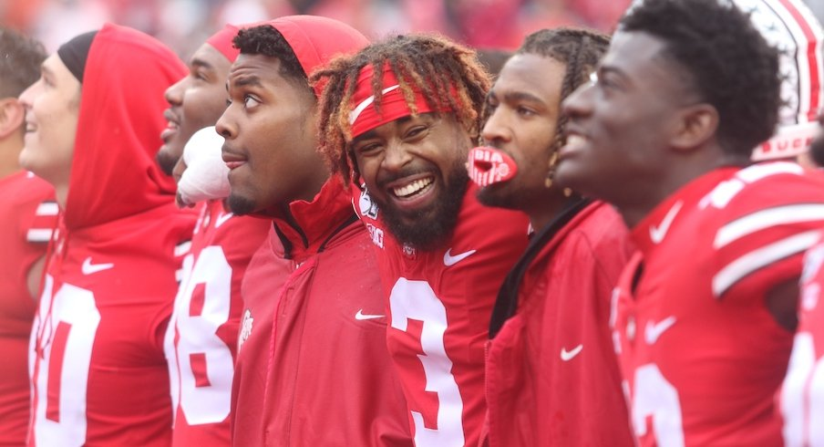 Ohio State players during Carmen after the Buckeyes' 38-7 win over Wisconsin.