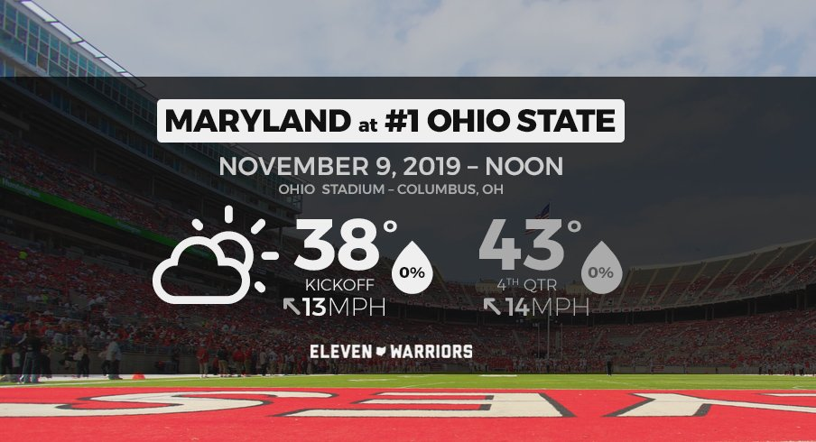 Cool, dry weather for Maryland at Ohio State