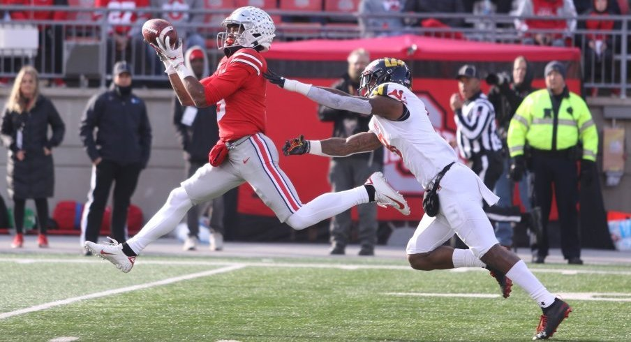 True freshman Garrett Wilson racked up a career-high 82 receiving yards against Maryland.