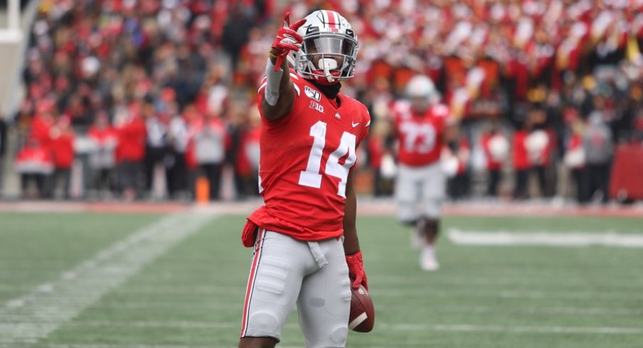 K.J. Hill was one of 10 Buckeye players to record a catch for Ohio State's in its 73-14 trouncing of Maryland.