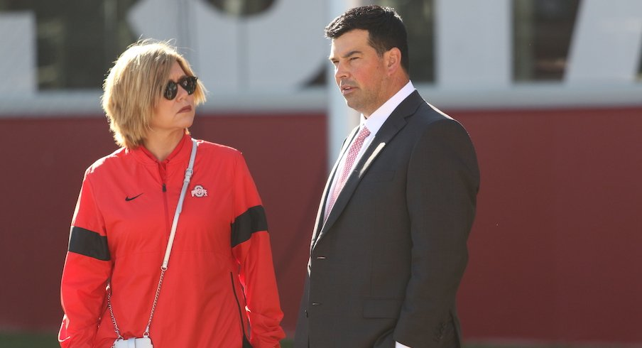 Ryan Day and Ohio State deputy athletics director Diana Sabau