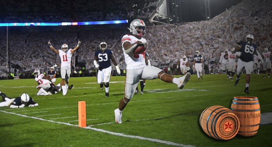 Sep 29, 2018; University Park, PA, USA; Ohio State Buckeyes wide receiver K.J. Hill (14) crosses the goal line to score the go ahead touchdown in the fourth quarter against the Penn State Nittany Lions at Beaver Stadium. Mandatory Credit: James Lang-USA TODAY Sports
