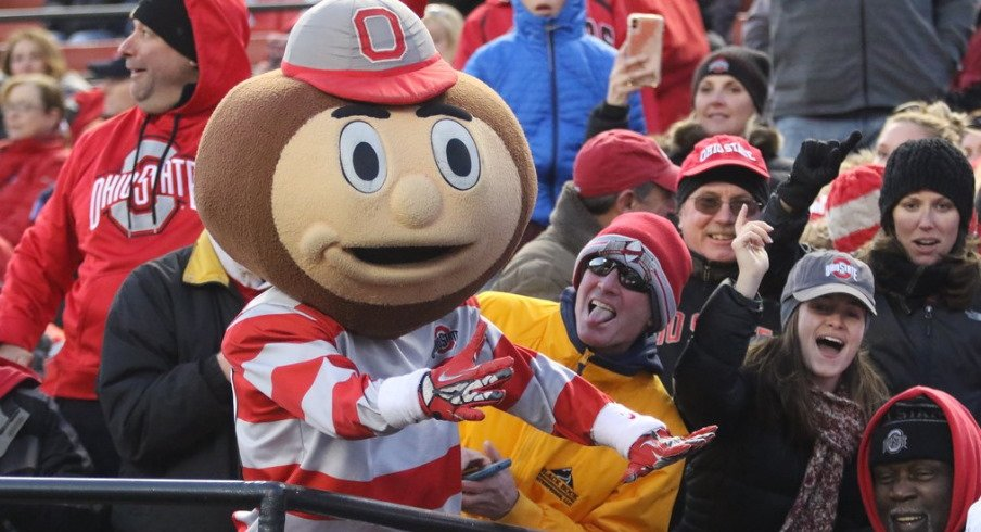 Brutus Buckeye and Ohio State fans