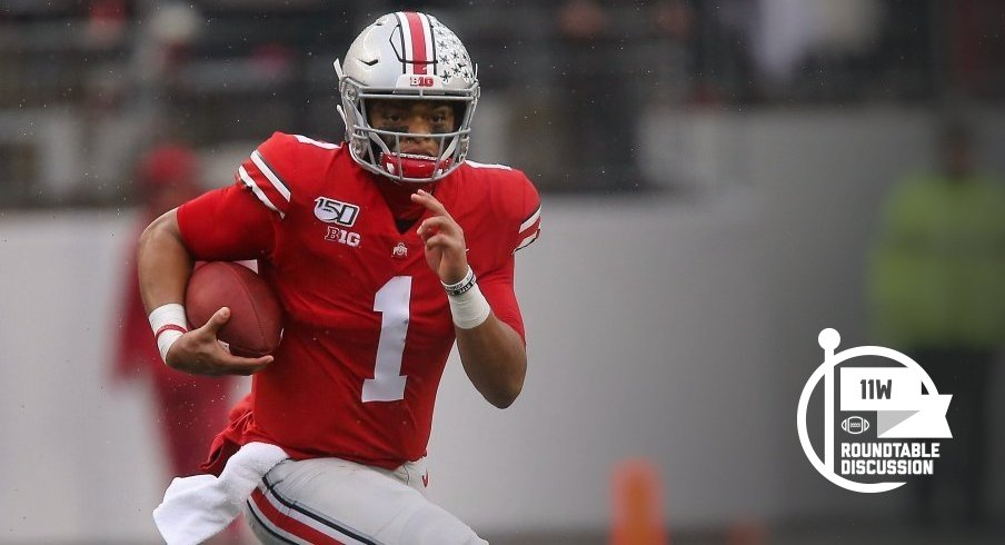 Justin Fields has 31 touchdown passes and 10 touchdown runs through Ohio State's first 10 games.