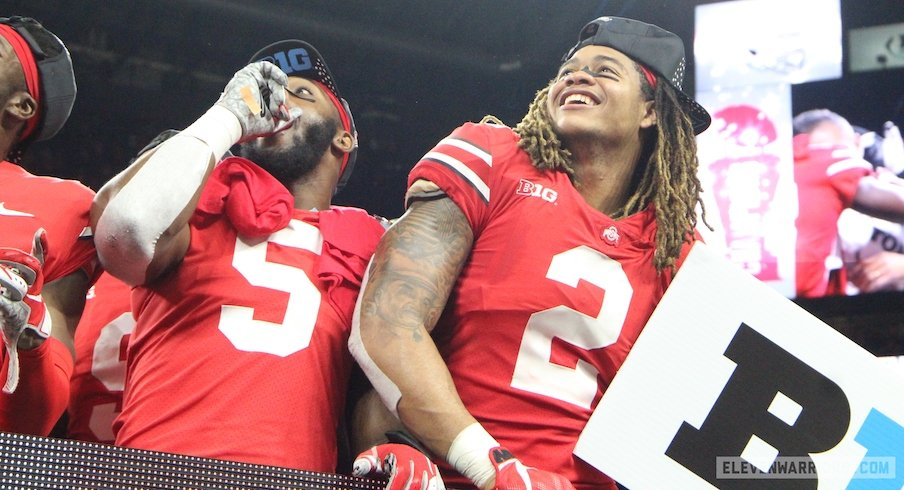 Baron Browning and Chase Young celebrate the 2018 Big Ten championship.