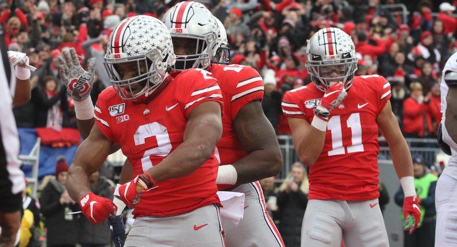 J.K. Dobbins celebrates after a touchdown.