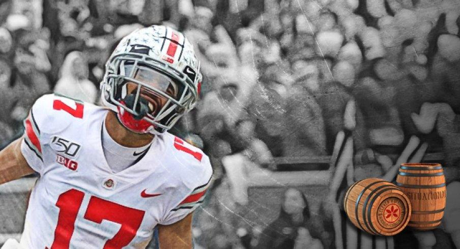 chris olave scores a touchdown in Ann Arbor