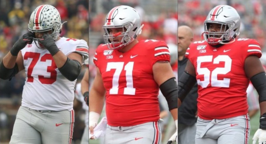 Left guard Jonah Jackson, center Josh Myers and right guard Wyatt Davis anchor Ohio State's offensive line.