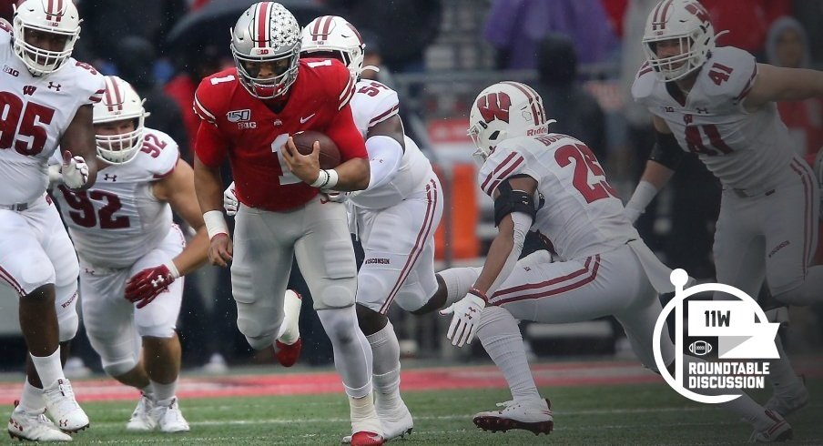 Justin Fields ran for a touchdown and threw for two more in a 38-7 win over Wisconsin back in October.
