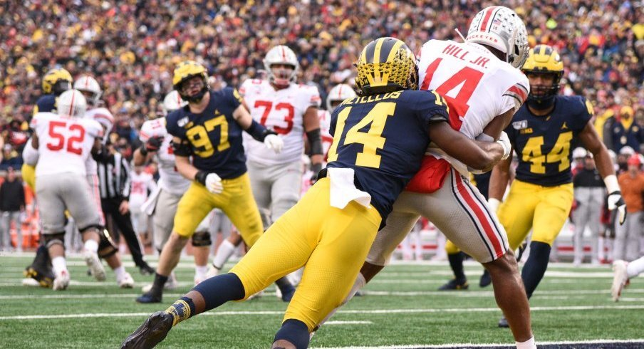 K.J. Hill gave Ohio State a 35-16 lead over Michigan with this six-yard touchdown grab.