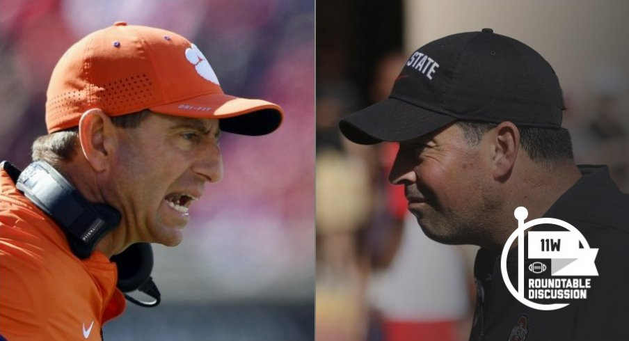 Dabo Swinney and Ryan Day square off in tomorrow's College Football Playoff semifinal between Clemson and Ohio State. (Jamie Rhodes-USA TODAY Sports)