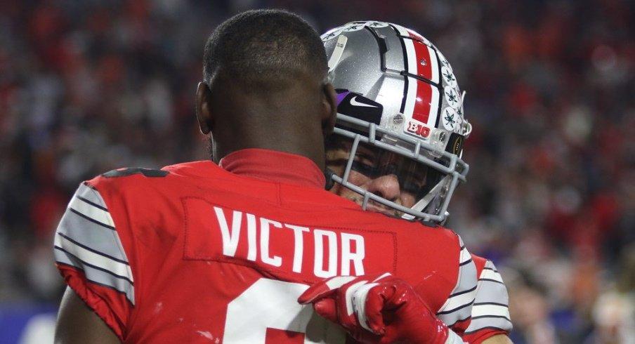 Ohio State receivers Austin Mack and Bin Victor