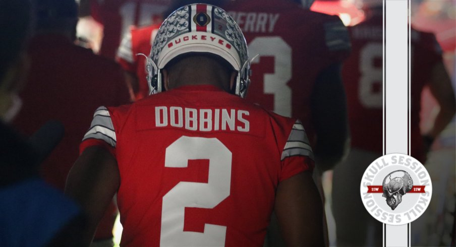 J.K. Dobbins did it one last time in today's skull session.