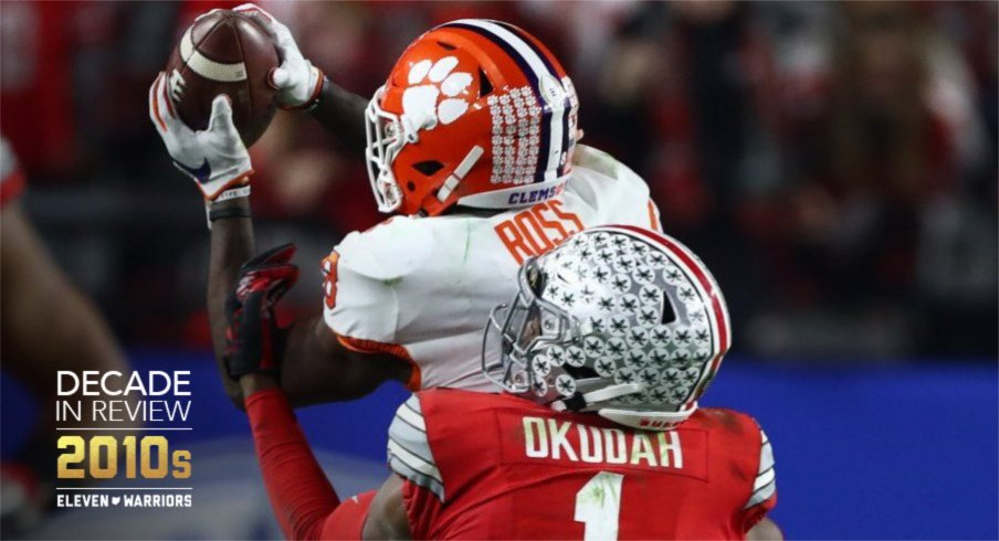 Jeff Okudah is about to force a fumble, or so Buckeye fans thought.