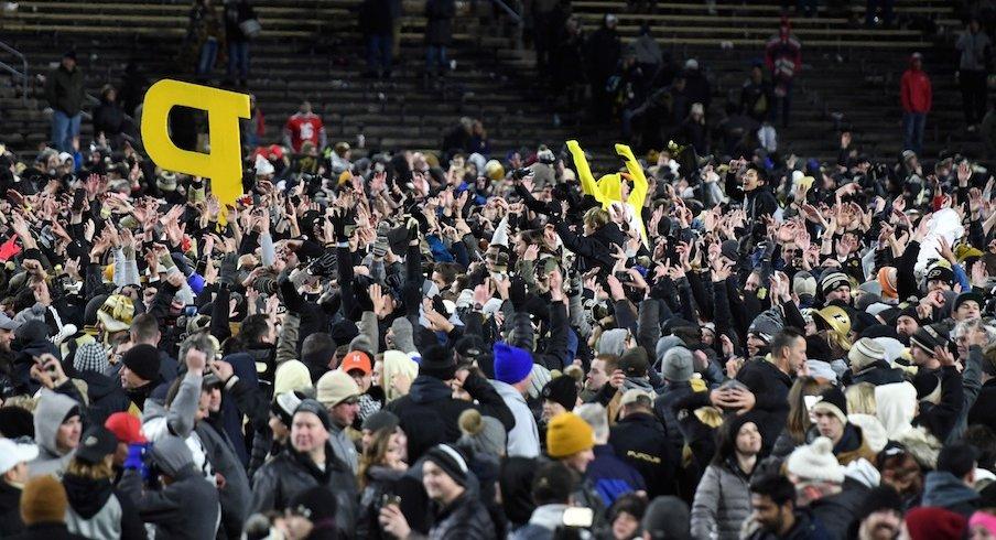 Purdue fans celebrating in 2018