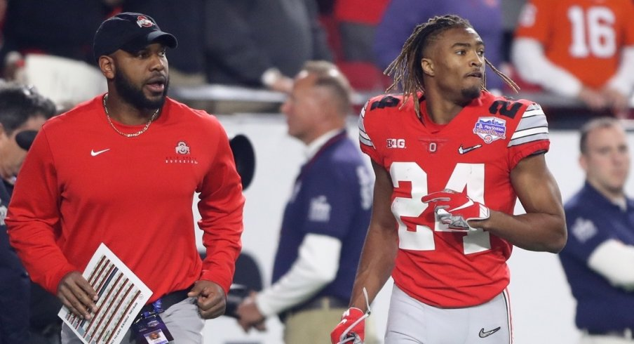 Dec 28, 2019; Glendale, AZ, USA; Ohio State Buckeyes cornerback Shaun Wade (24) leaves the field after being ejected for targeting in the 2019 Fiesta Bowl college football playoff semifinal game against the Clemson Tigers at State Farm Stadium. Mandatory Credit: Mark J. Rebilas-USA TODAY Sports