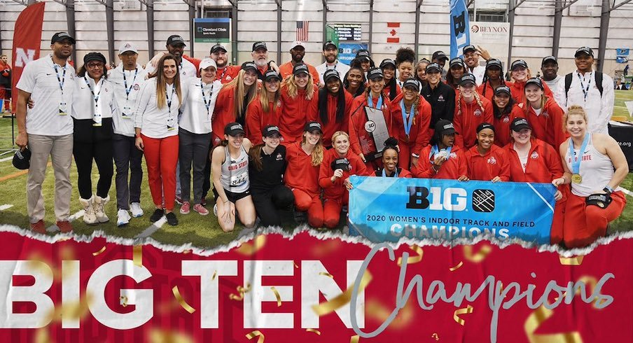 Ohio State women's track and field celebrates its Big Ten title.