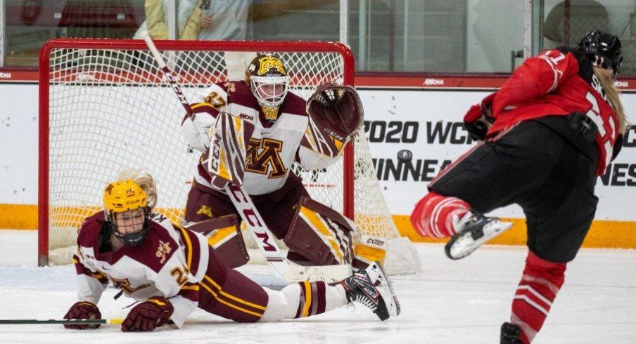 Ohio State women's hockey beat Minnesota in OT to advance to the WCHA championship game.