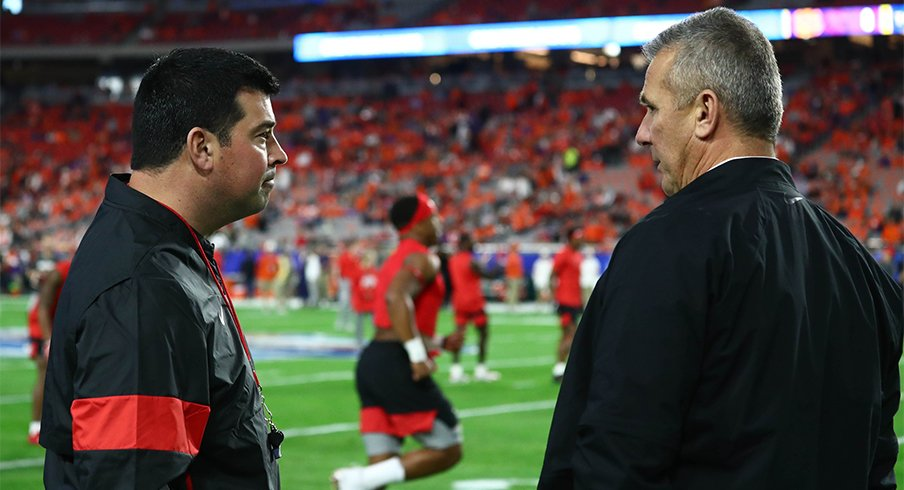 Ohio State head coach Ryan Day with former coach Urban Meyer