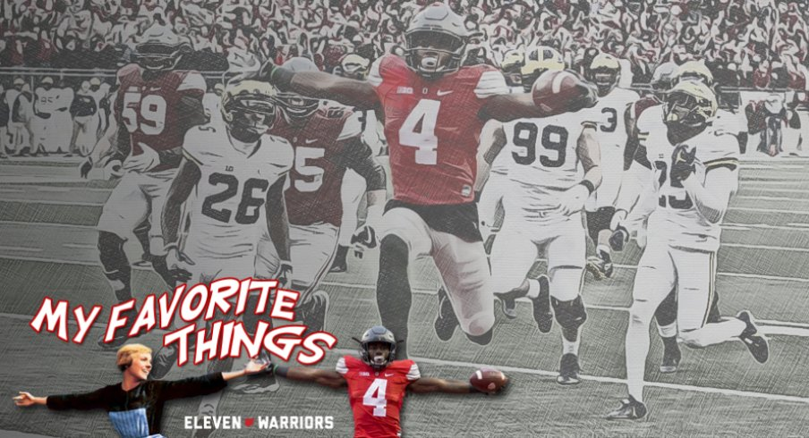 Ohio State Curtis Samuel leaps into the end zone during the second overtime of Ohio State's 30-27 win over Michigan at Ohio Stadium in Columbus, Ohio on Saturday, November 26, 2016