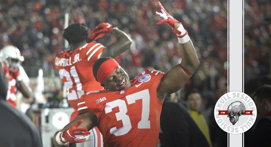 Derrick Malone celebrates winning the Rose Bowl