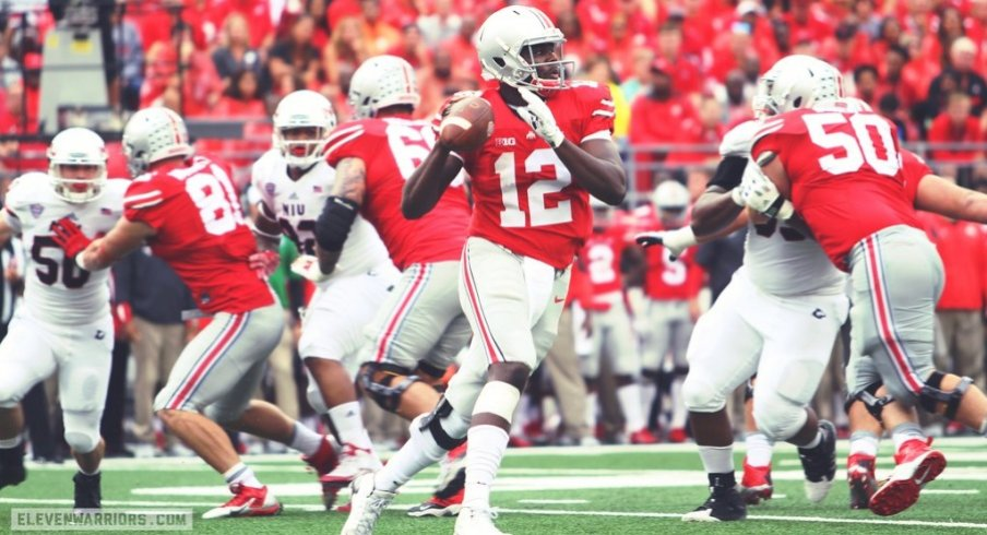 The great Cardale Jones tossed two first-half interceptions before giving way to J.T. Barrett in a dicey 20-13 win over Northern Illinois in 2015.