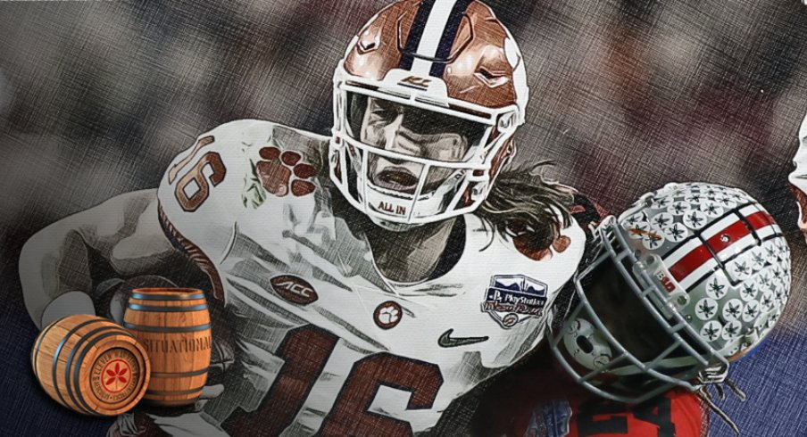 Clemson quarterback Trevor Lawrence, here being tackled by Ohio State cornerback Shaun Wade in the College Football Playoff Semifinal at the Fiesta Bowl in December, is part of a emerging collective of college football stars hoping to play this season.
