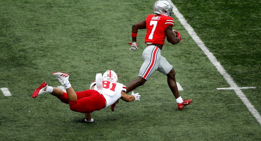 Sevyn Banks runs away from Nebraska on the way to a scoop-and-score.