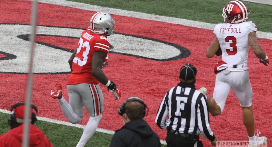 Ty Fryfogle beats Marcus Hooker on a long touchdown.