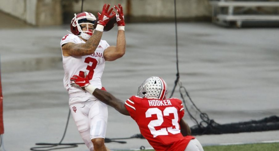 Marcus Hooker is beat by Ty Fryfogle for a touchdown in Ohio State's 42-35 win over Indiana.