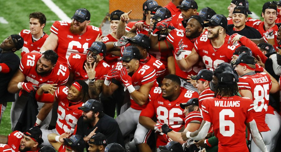 Ohio State players celebrate the Big Ten championship.
