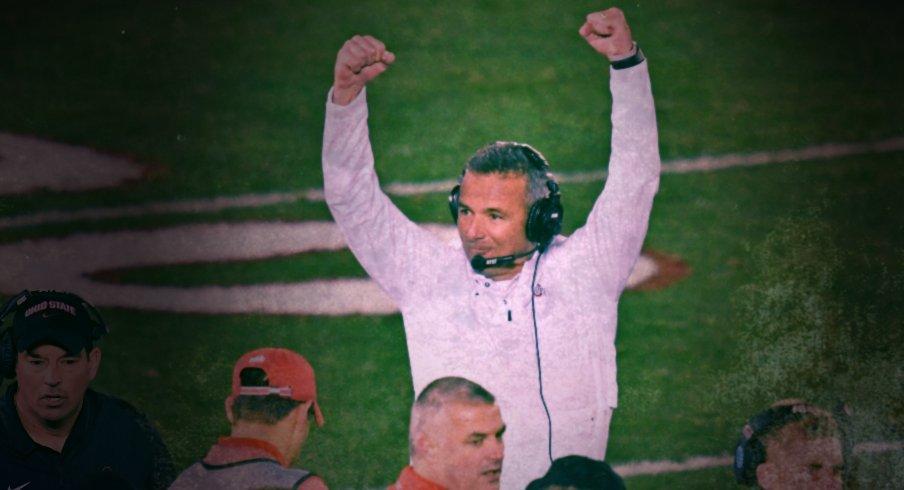 Jan 1, 2019; Pasadena, CA, USA; Ohio State Buckeyes head coach Urban Meyer celebrates as the Ohio State Buckeyes defeat the Washington Huskies in the 2019 Rose Bowl at Rose Bowl Stadium. Mandatory Credit: Robert Hanashiro-USA TODAY Sports
