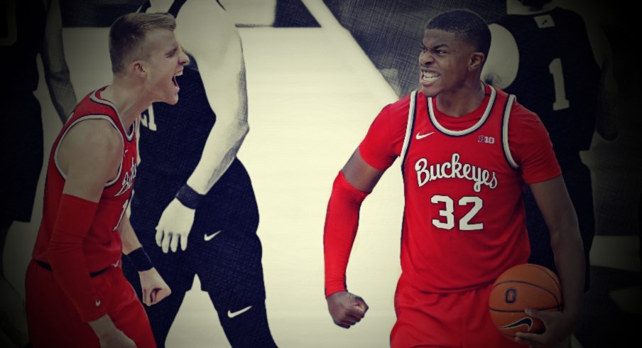 Jan 27, 2021; Columbus, Ohio, USA; Ohio State Buckeyes forward E.J. Liddell (32) and Ohio State Buckeyes forward Justin Ahrens (10) celebrate as time expires during the second half against the Penn State Nittany Lions at Value City Arena. Mandatory Credit: Joseph Maiorana-USA TODAY Sports