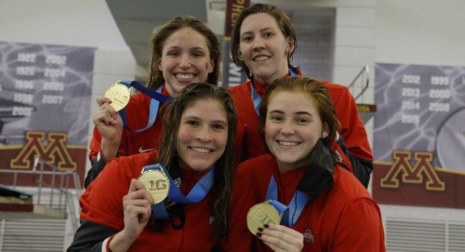 Emily Crane, Sophomore Hannah Bach, Senior Katie Trace and Senior Taylor Petrak