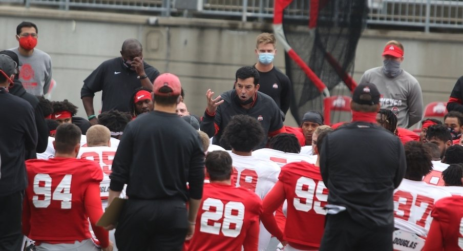 Ryan Day at an Ohio State practice