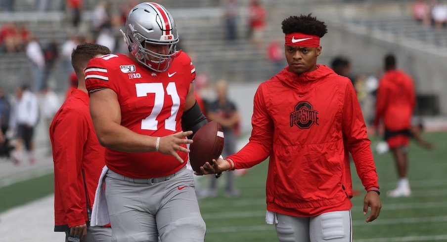 Josh Myers and Justin Fields