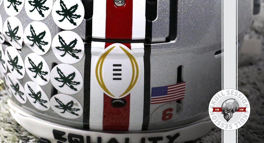 The Buckeyes have a sticker on their helmet in today's skull session.