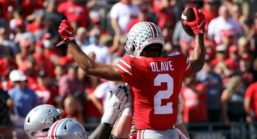 Chris Olave leads Ohio State with seven touchdown catches in six games.