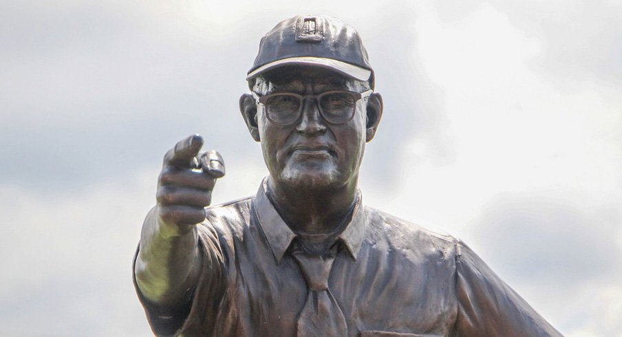 Woody Hayes statue in Newcomerstown, Ohio.