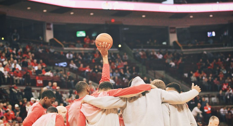 The Ohio State men's basketball team prepares to tipoff against Marquette.